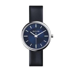 RUYEN|44mm 經典系列 (藍色錶面黑色皮錶帶)