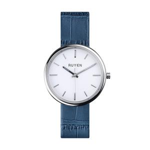 RUYEN|44mm 經典系列 (白色錶面 藍色鱷魚皮錶帶)
