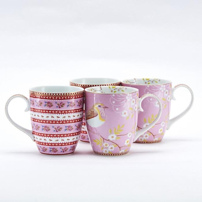Pip Studio枝雛鳥與粉紅緞帶馬克杯禮
