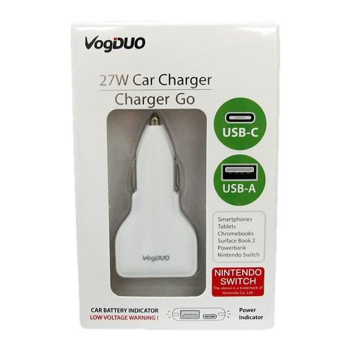 VogDUO | Charger Go 超實用Type-C & Type-A快速車用充電器(典雅白)