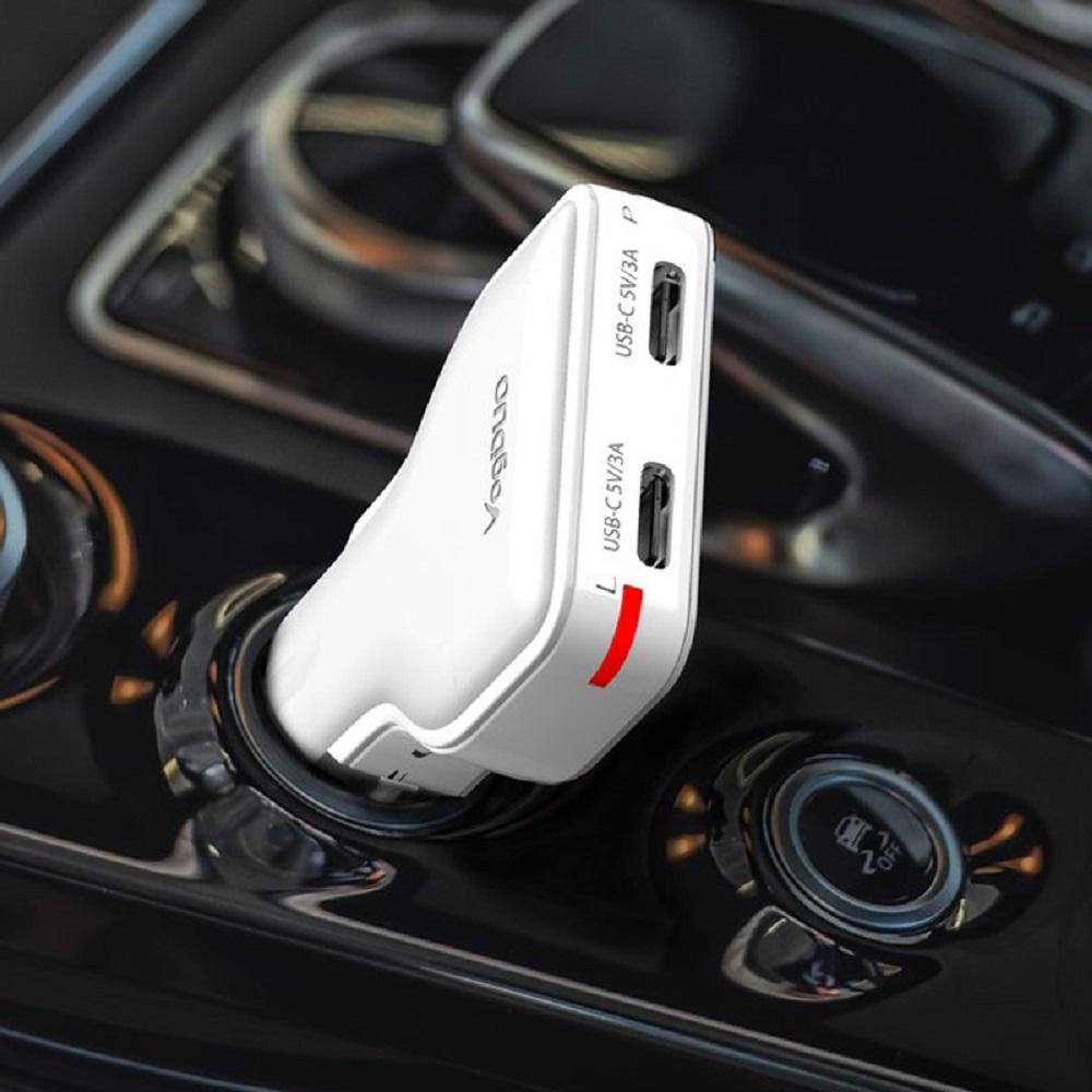 VogDUO | Charger Go 30W雙Type-C專業高速多功能車充(典雅白)(附高級Type-C線)