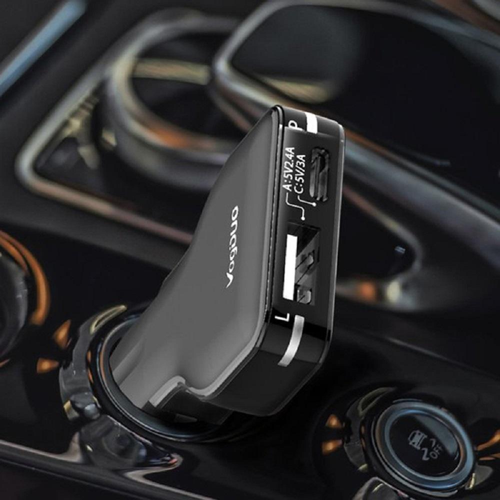 VogDUO   Charger Go 27WType-C & Type-A專業高速多功能車充組(經典黑)(附高級Type-C線)