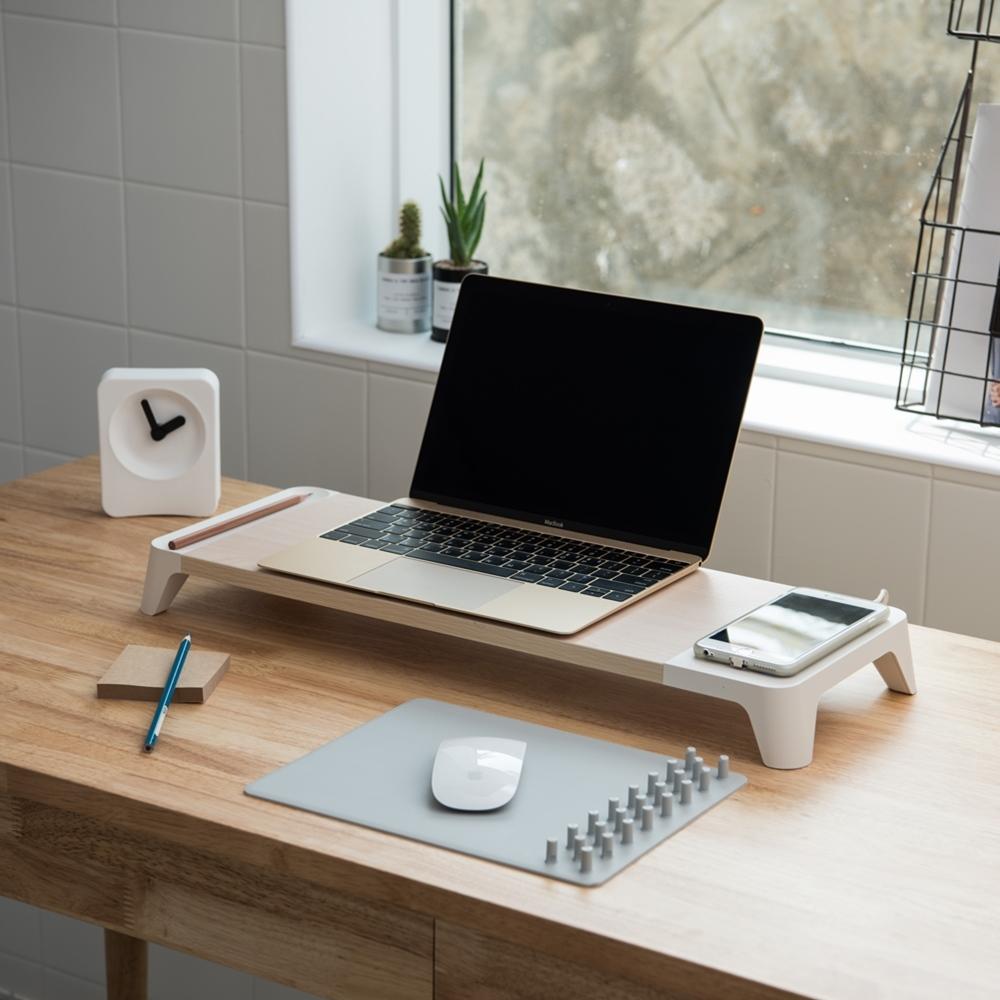 PALLO│高級原木設計螢幕/筆電架-支援無線充電