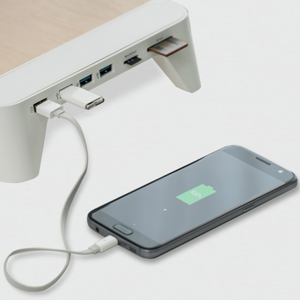 PALLO│高級原木設計螢幕/筆電架-支援快充與多功能擴充