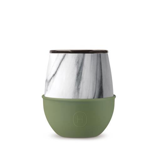 美國HYDY | Delicia 系列時尚蛋型杯(大理石-橄欖綠)