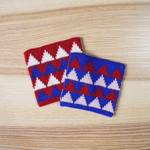studio chiia好耘設計|針織吸水杯墊 (紅色/藍色-二入一組)