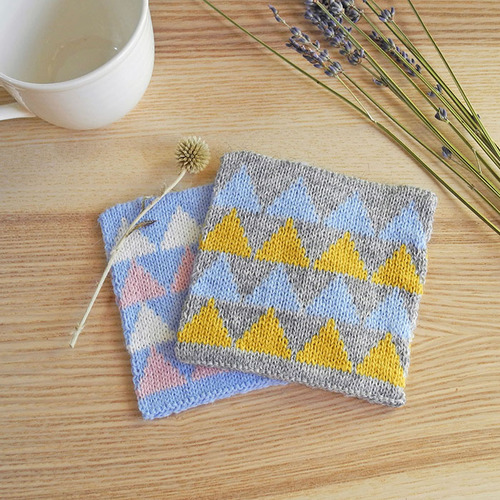 studio chiia好耘設計|針織吸水杯墊 (灰色/粉藍色-二入一組)