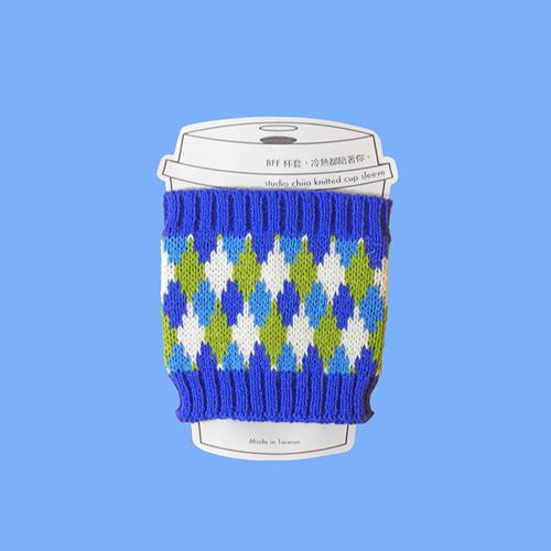studio chiia好耘設計|針織環保隔熱杯套(藍色)