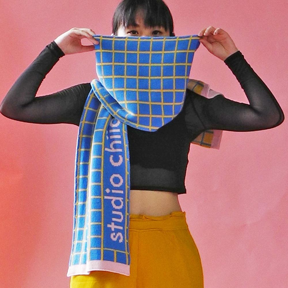 studio chiia好耘設計|針織雙面圍巾(淺藍方格)