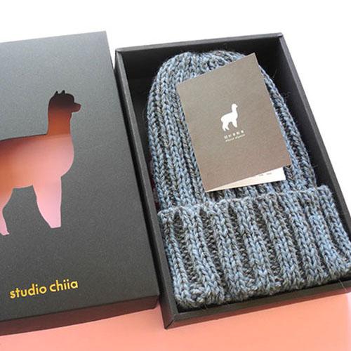 studio chiia好耘設計 秘魯羊駝毛-手工毛帽 (藍色)