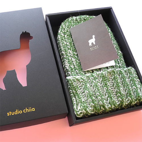 studio chiia好耘設計|秘魯羊駝毛-手工毛帽 (綠色)