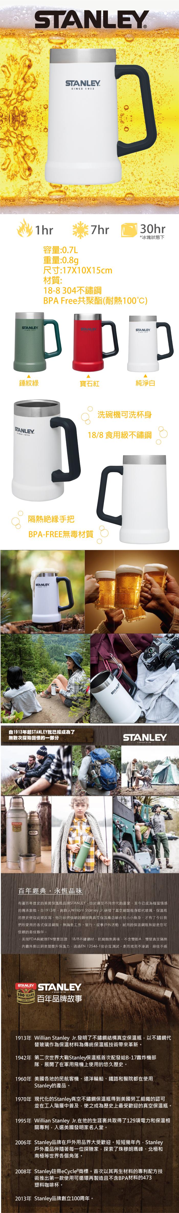美國Stanley | 冒險系列真空啤酒杯709ml-白色