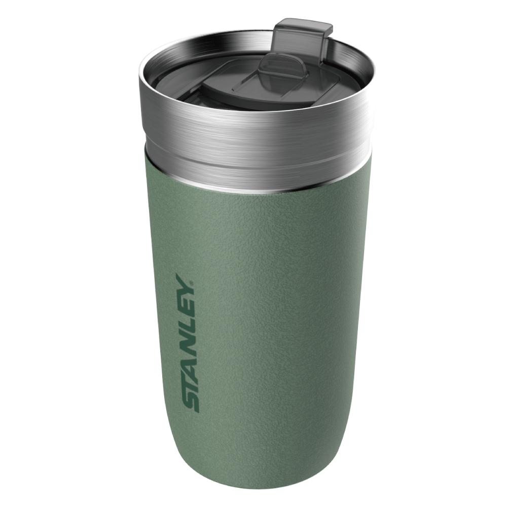 美國Stanley GO 系列單手滑蓋保溫咖啡杯0.47L-錘紋綠