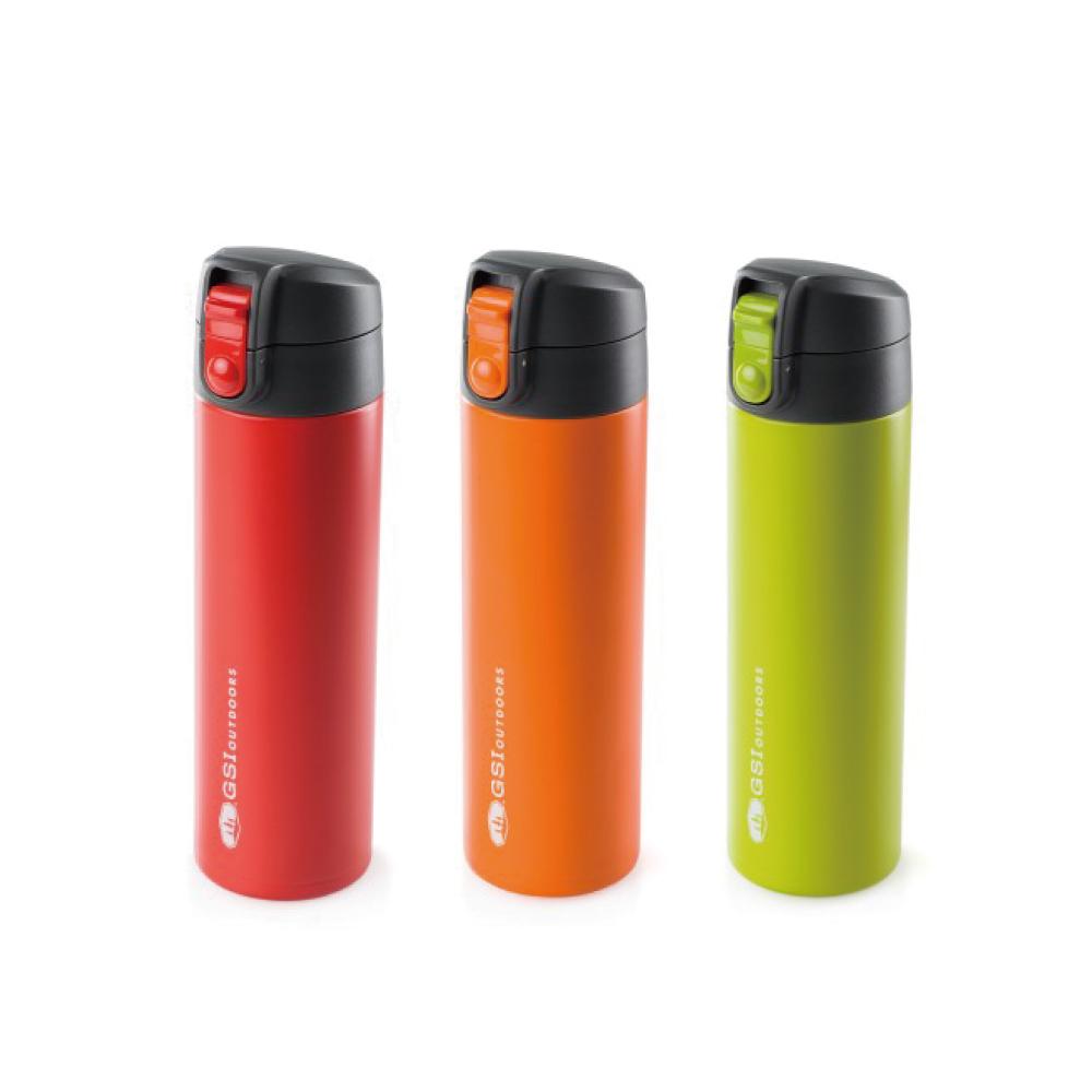 美國GSI|輕量單手彈蓋不鏽鋼保溫瓶-0.5L(紅綠橘)