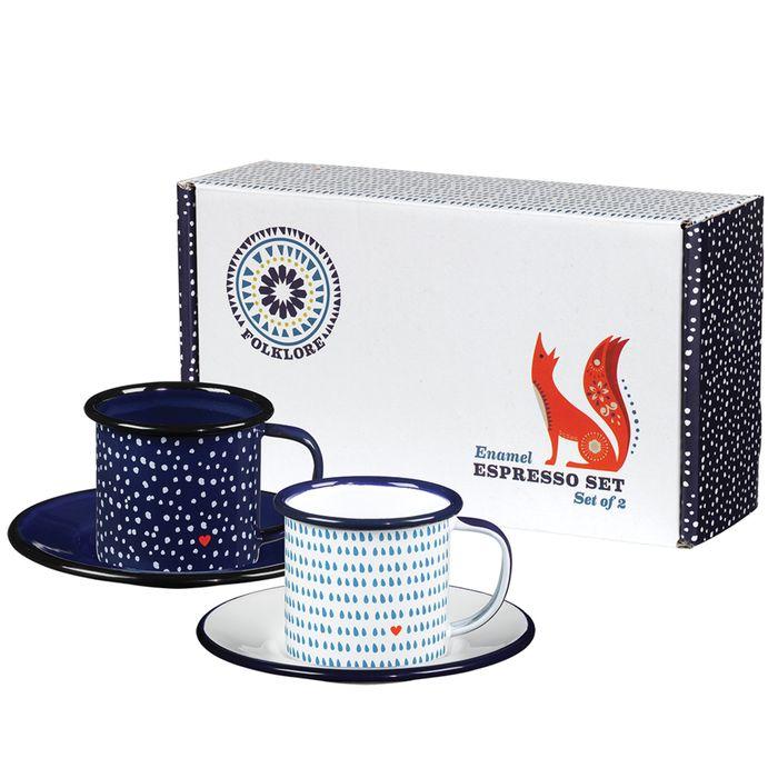 英國琺瑯 Wild & Wolf 白晝黑夜系列 琺瑯濃縮咖啡杯盤組