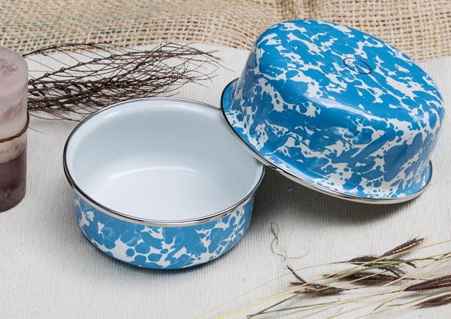 峇里島 Wind & Whisper 南洋琺瑯烤盤/烤碗2件組(潑墨風)