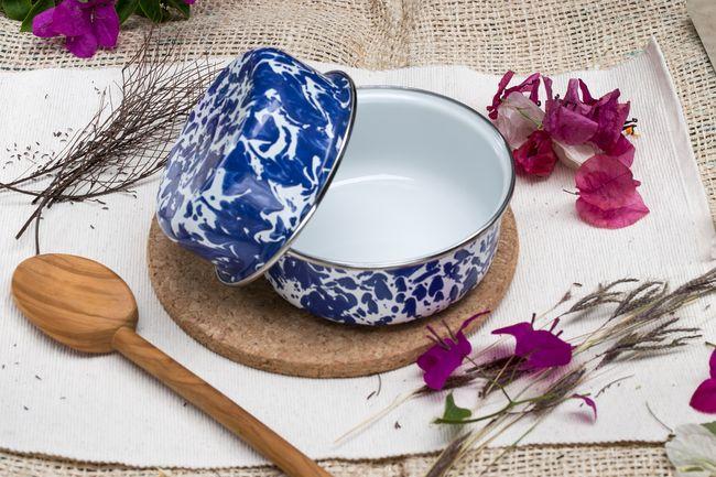 峇里島 Wind & Whisper 南洋琺瑯烤盤/烤碗2件組(潑墨風)碧海