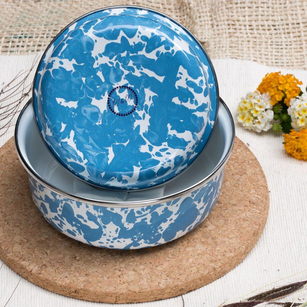 峇里島 Wind & Whisper|南洋琺瑯烤盤/烤碗2件組(潑墨風)藍天