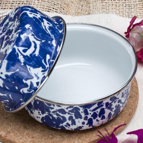 峇里島 Wind & Whisper|南洋琺瑯烤盤/烤碗2件組(潑墨風)碧海