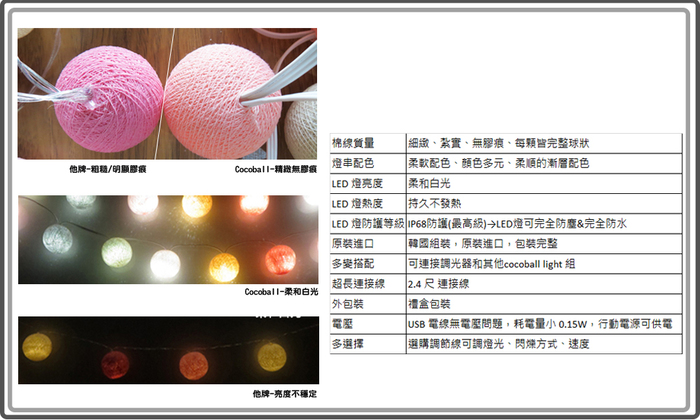 (複製)Cotton to Kids|Cocoball Light LED氣氛棉球燈串(romance)