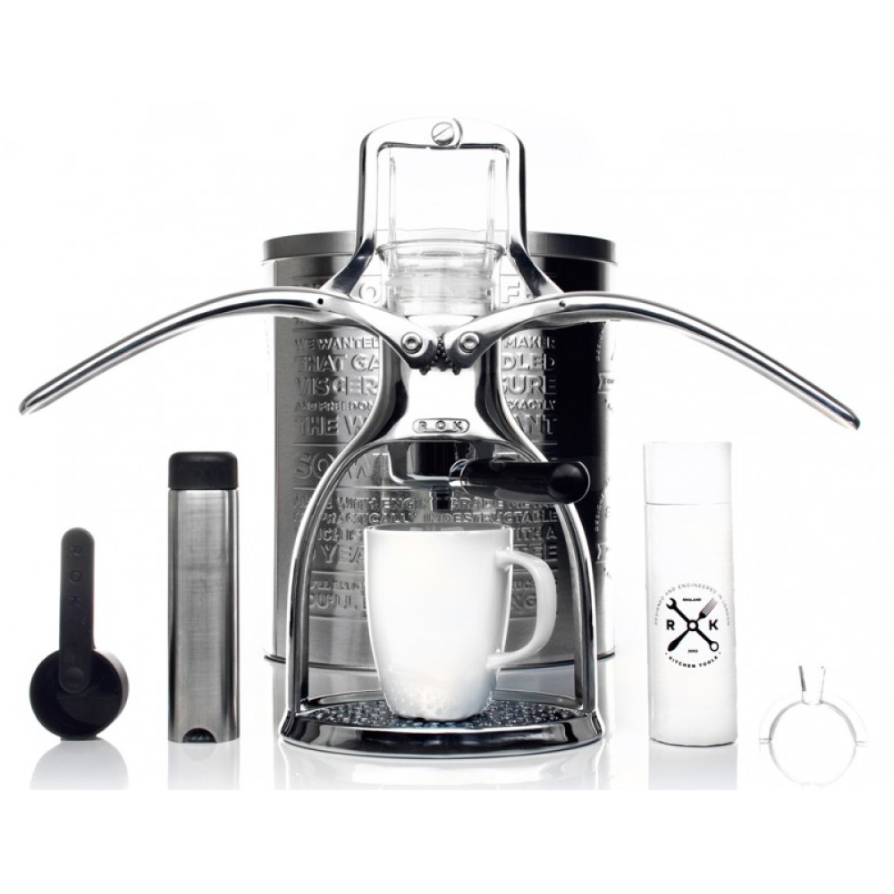 ROK | 手壓咖啡機 ESPRESSO COFFEEMAKER(經典銀)