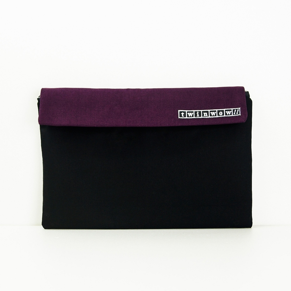 twinwow|時尚筆記 - 細緻質感平板包(時尚黑紫)