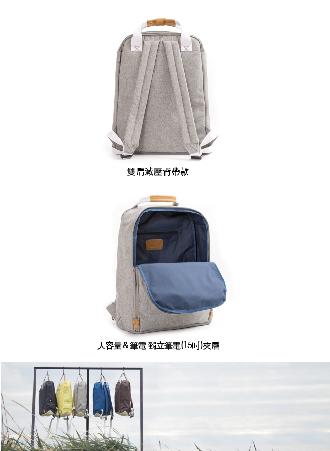 GOLLA   北歐芬蘭時尚極簡後背包15.6吋 G1769-透明灰