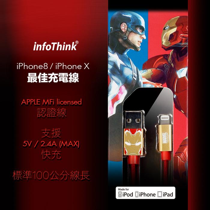 (複製)InfoThink 美國隊長iPhone/iPad快充傳輸線