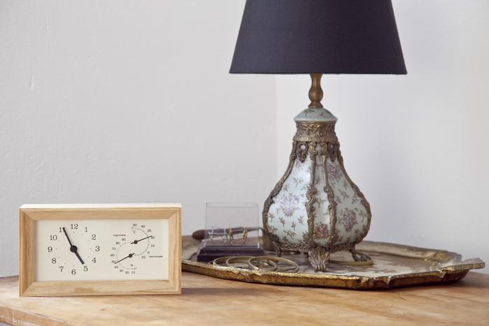 (複製)Lemnos|溫溼度計長方桌鐘-原木色