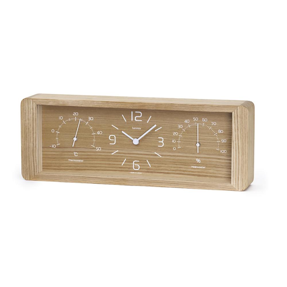 Lemnos|溫溼度計長方桌鐘-原木色