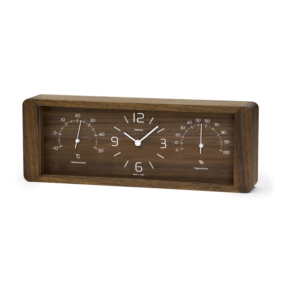 Lemnos|溫溼度計長方桌鐘-深褐色