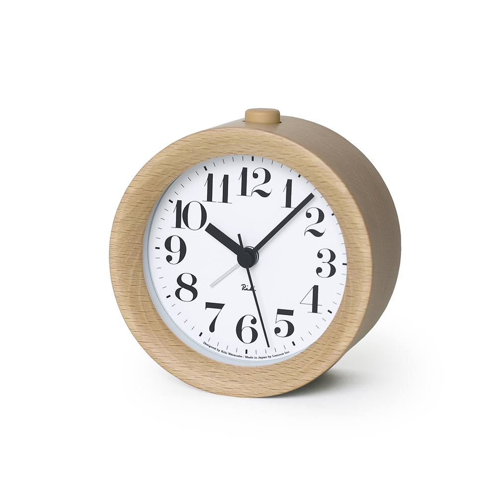 Lemnos|渡邊力圓型小鬧鐘-原木色