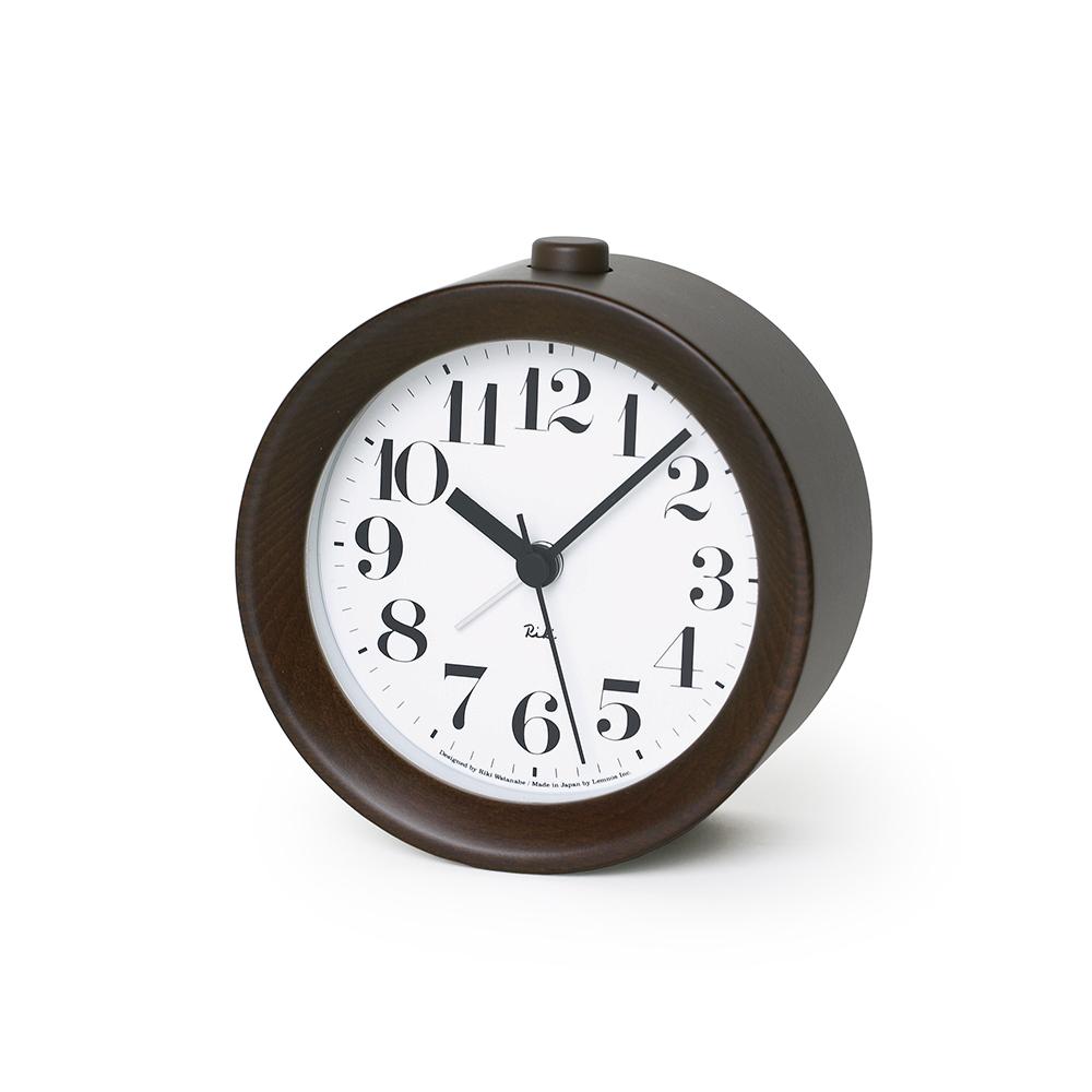 Lemnos|渡邊力圓型小鬧鐘-深褐色