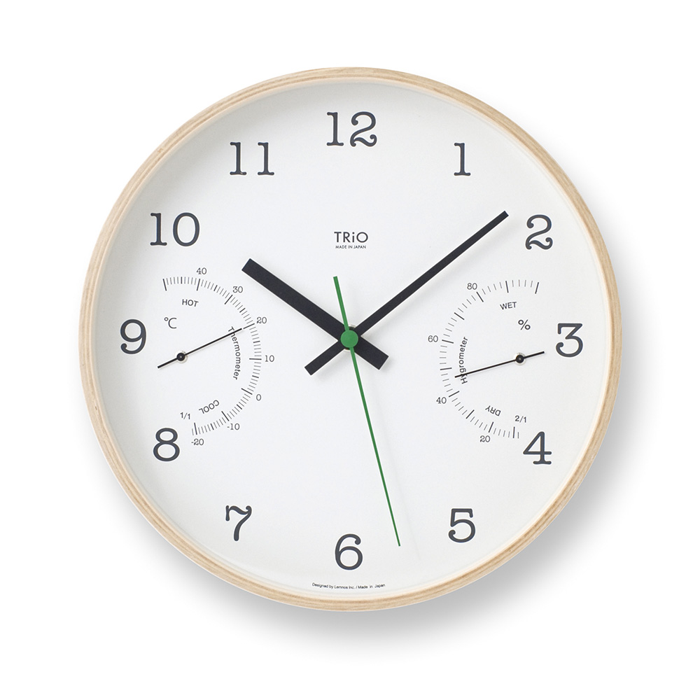 Lemnos|溫溼度計木質圓形時鐘-白色