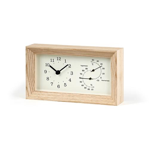 Lemnos|FRAME方形溫濕度計桌鐘-原木色