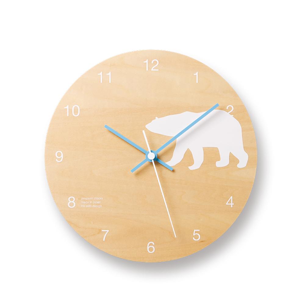 Lemnos|摩登動物圓形時鐘-白熊