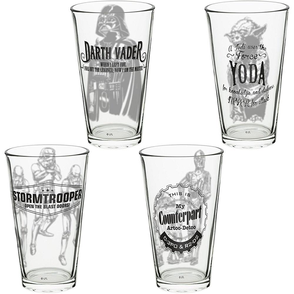 Star Wars | 星際大戰系列玻璃杯16oz 四入(黑武士、風暴兵、尤達、C-3PO、R2-D2)