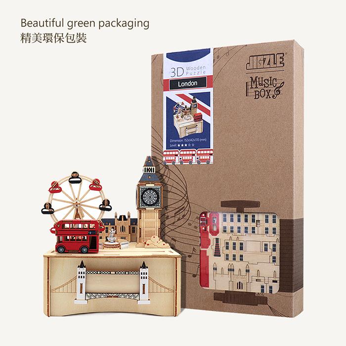 Team Green 3D木拼圖 彩色音樂盒-倫敦