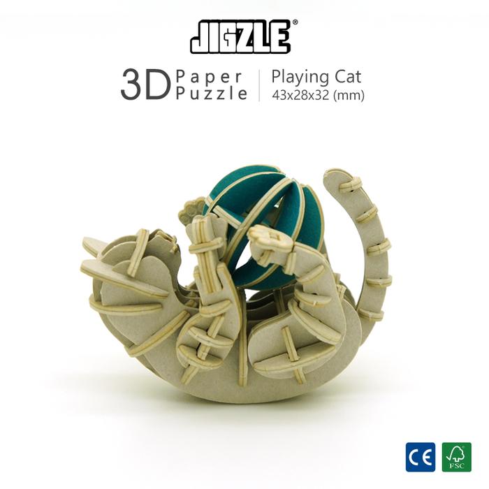 Team Green|3D紙拼圖 玩耍的貓