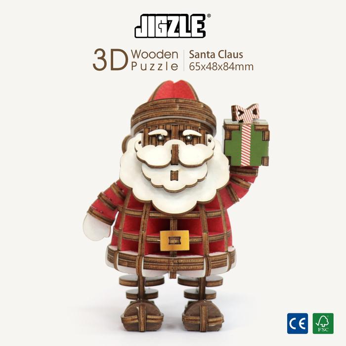 Team Green|3D木拼圖 彩色聖誕老人