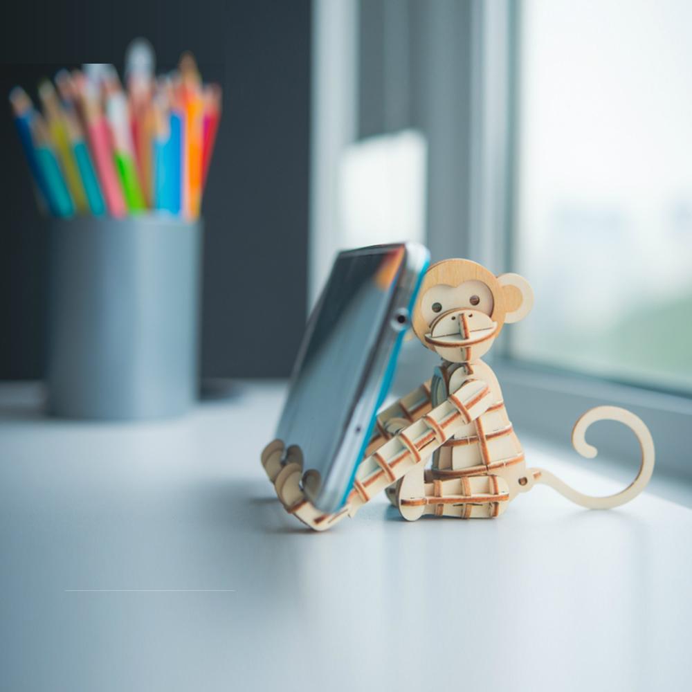 JIGZLE|3D木拼圖 猴子手機架