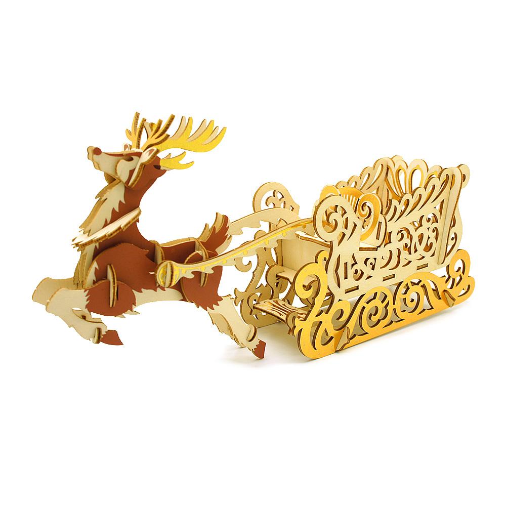 JIGZLE|3D木拼圖 彩色聖誕雪橇手機座