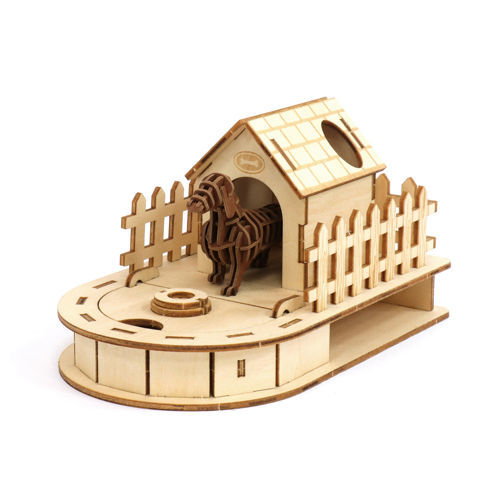 JIGZLE|3D木拼圖 迷你收納狗屋 + 紙臘腸犬