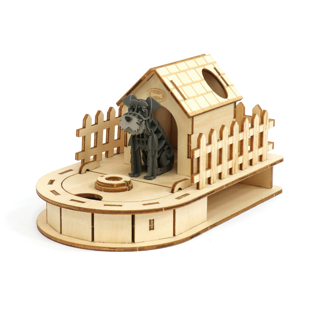 JIGZLE 3D木拼圖 迷你收納狗屋 + 紙雪納瑞