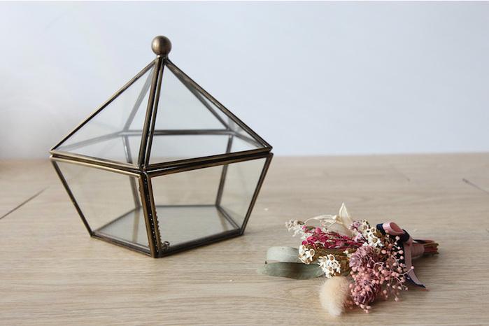 目喜生活   古銅色復古玻璃擺飾盒