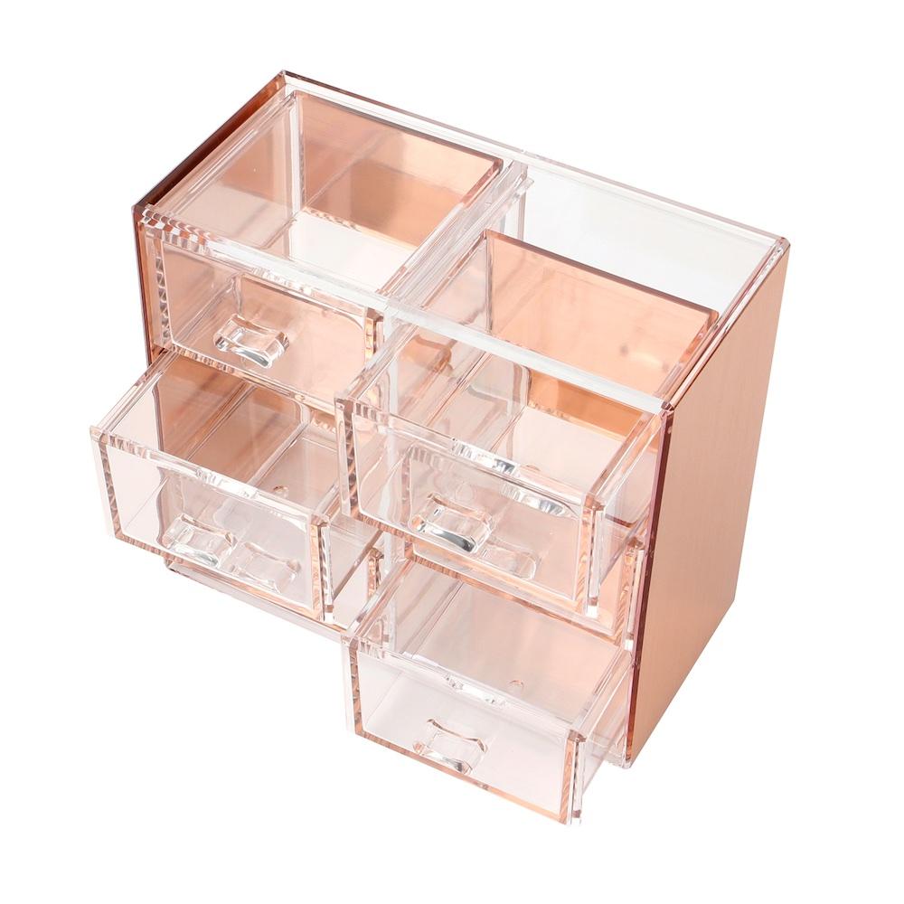 目喜生活 | 玫瑰金可堆疊桌上型收納6格抽屜