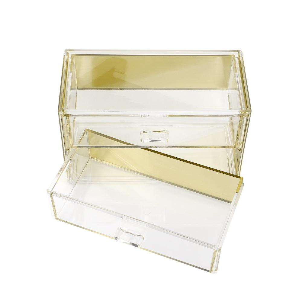 目喜生活 | 金色可堆疊桌上型收納2格抽屜