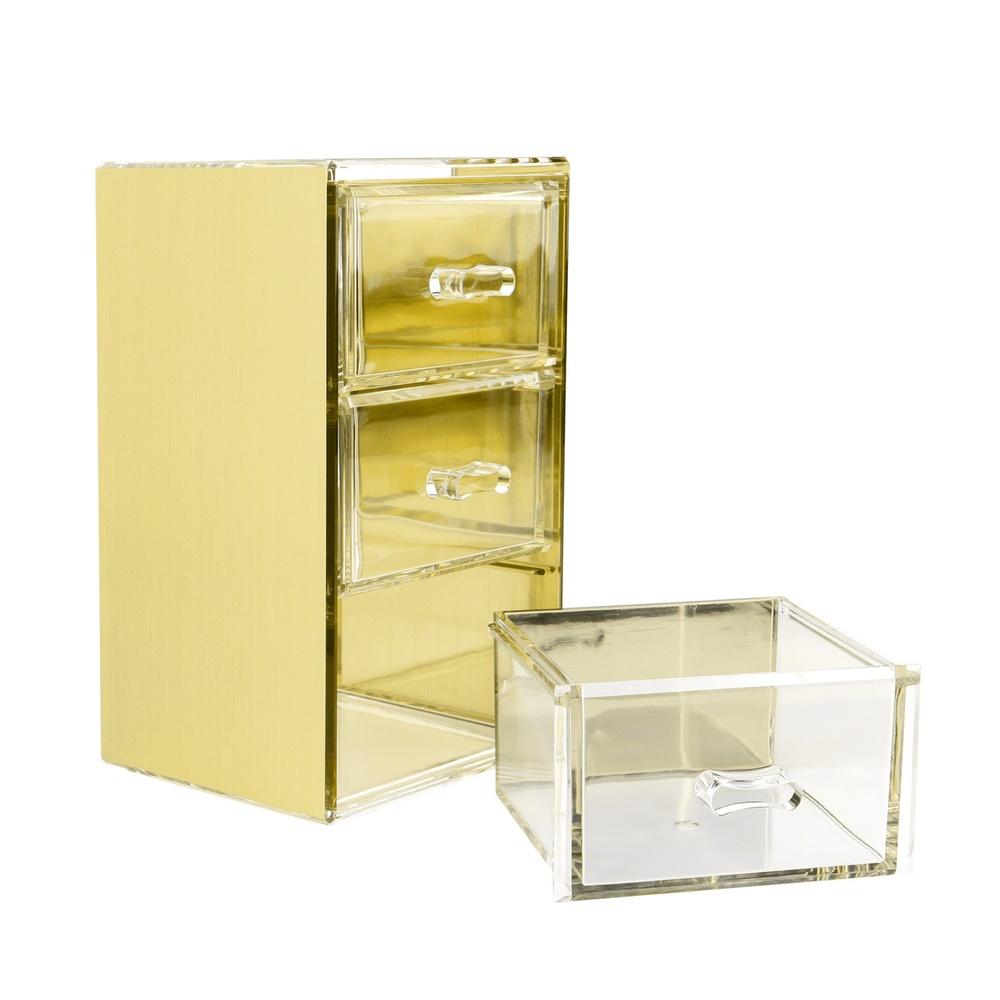 目喜生活 | 金色可堆疊桌上型收納3格抽屜