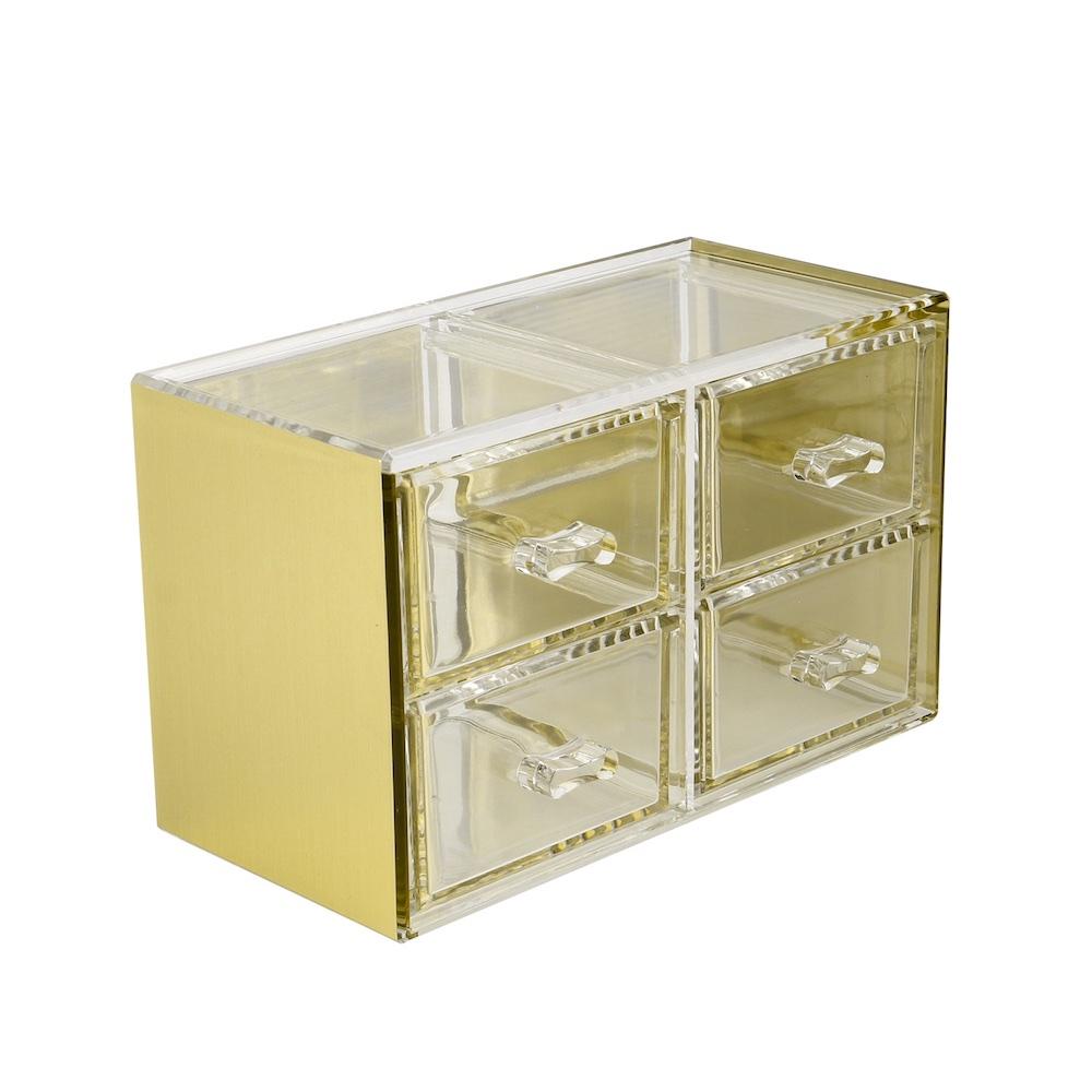 目喜生活 | 金色可堆疊桌上型收納4格抽屜