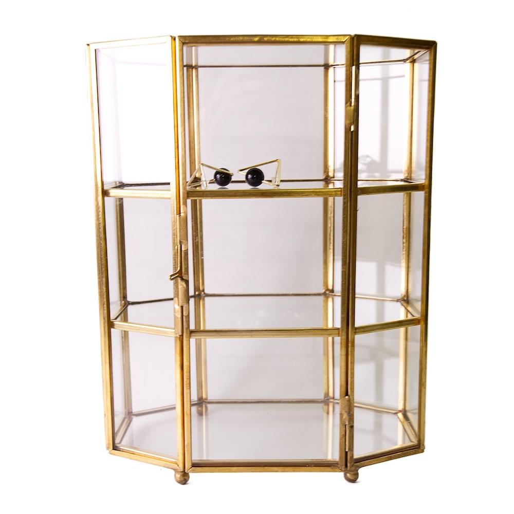目喜生活 | 銅色六邊加高三層玻璃收納盒